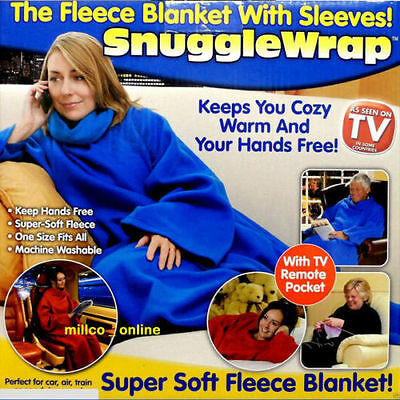 NEW Cuddle Blanket Throw Snuggle with Sleeves Snuggie TV Fleece Print