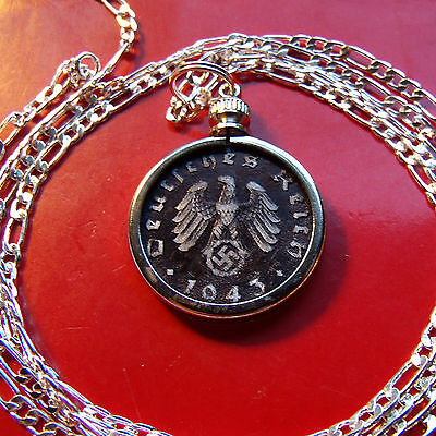 """1940-1944  German WWII Antique Black Eagle Coin on a 30"""" 925 Silver Chain"""