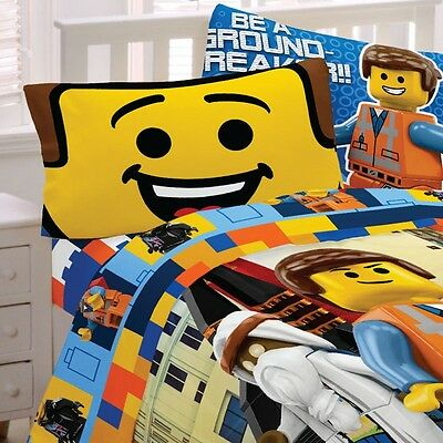 LEGO MOVIE BED SHEET SET - Emmet Wyldstyle Toy Blocks Bedding Accessories