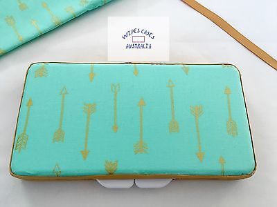 Mint With Gold Arrows Baby Wipes Case - Perfect Gift For Baby Shower