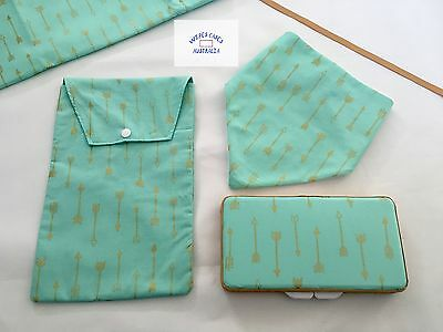Mint With Gold Arrows Wipes Case, Nappy Pouch & Bib - Perfect Gift Baby Shower