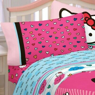 Sanrio HELLO KITTY BED SHEET SET - Hot Pink Colorful Hearts Bedding Accessories
