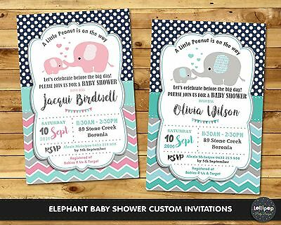 Elephant Baby Shower Party Invitation Invite Personalised Boy Girl Boutique