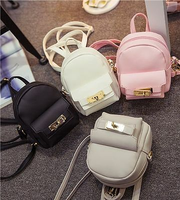 aqxmgWomen's mini waterproof pu leather casual backpack double strap travel bags