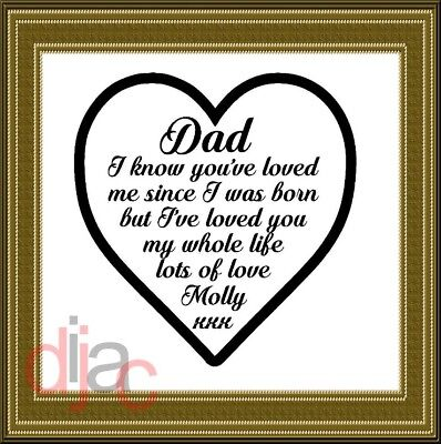 Personalised Vinyl Decal Sticker Love You Dad For Frame Block Vase