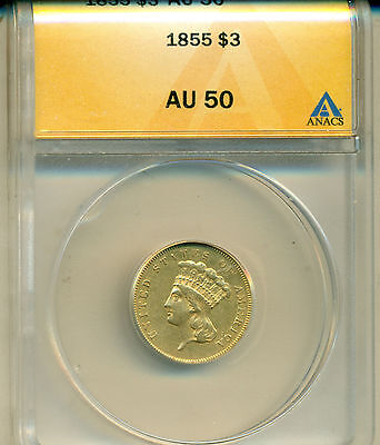 1855 $3.00 Princess Gold Anacs Certified Au-50 Almost Uncirculated