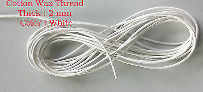 10 Metres White Waxed Cotton Cord 2mm Jewellery Making String Thread Crafts