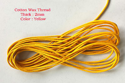10 Metres Yellow Waxed Cotton Cord 2mm Jewellery Making String Thread Crafts