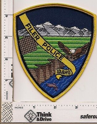 Filer Police. Idaho. Gold ribbon center with eagle.