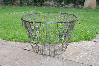 Vintage potato basket old metal mesh veg collecting basket wire - FREE DELIVERY