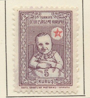 TURKEY;  1943 early Child Welfare issue fine Mint hinged 5k. value