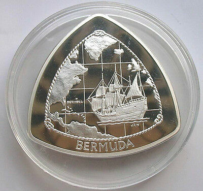 Bermuda 1998 Ship Map 9 Dollars 5oz Triangular Silver Coin,Proof