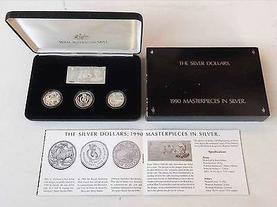 1990 MASTERPIECES IN SILVER PROOF COIN SET - Royal Australia Mint - 4 x $1