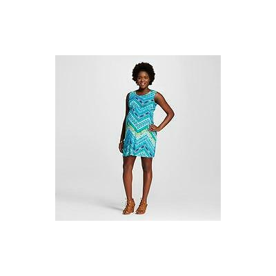 Macherie Maternity Sleeveless Print Bow Back Dress, Medium, Green/Turquoise
