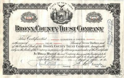 LOVELY 1930's BRONX BANK STOCK NOW JP MORGAN! 3 HAND SIGNATURES $50 RETAIL VALUE