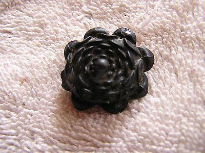 Antique Victorian Mourning  Black Flower Pin