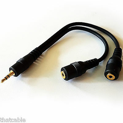 PRO 2.5mm Stereo Splitter Cable -Headphone Adapter Lead- Jack Plug To 2 x Socket