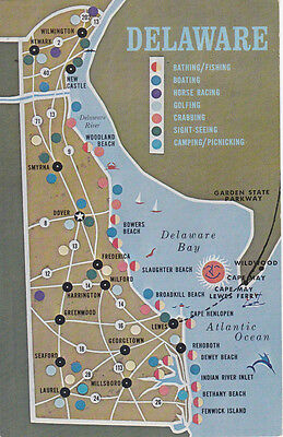 Map , Delaware, 50-60s , State attractions