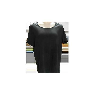 Maternity Short Sleeve Scoop Neck Tee, Black, Large White Stag