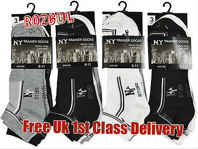3X Mens Ny Cotton Athletic Multi Stripe Gym Sports Ankle Summer Trainer Socks