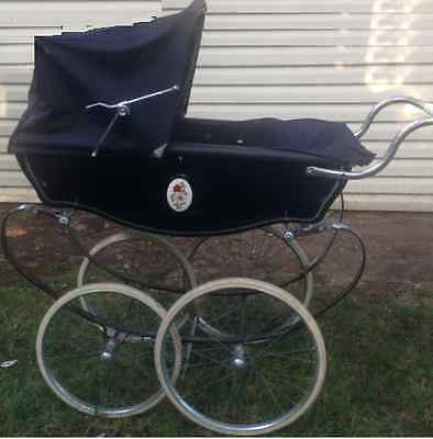 Vintage Blue Silver Cross Baby Carriage,  Balmoral Pram Navy Carriage