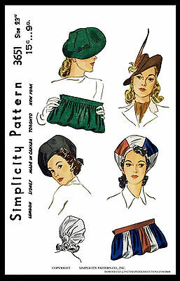 Cap Hats & BAG BERETFabric Sewing Pattern 1940's SIMPLICITY #3651 Millinery 23""