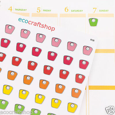 HEALTHY BODY WEIGHT SCALE DAILY WEEKLY TIME EC Planner Stickers Erin Condren R38