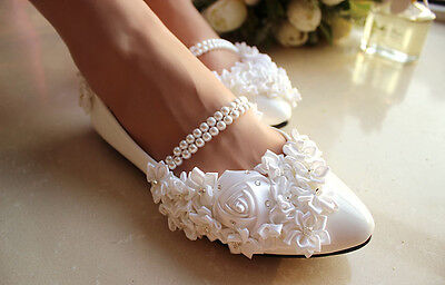 Lace Rose Formal Wedding shoes Bridal flats low high heel pump wedge size 5-12