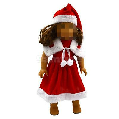 """Christmas Santa Dress Cape Hat Outfits Clothes Fits 18"""" American Girl Dolls"""