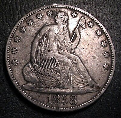 Old Us Coins 1858 O Silver Seated Liberty Half Dollar Fifty Cents Free Ship