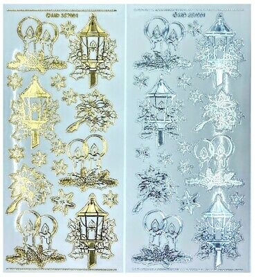 CHRISTMAS LAMP CANDLE POINSETTIA Peel Off Stickers Gold or Silver Clear Sticker
