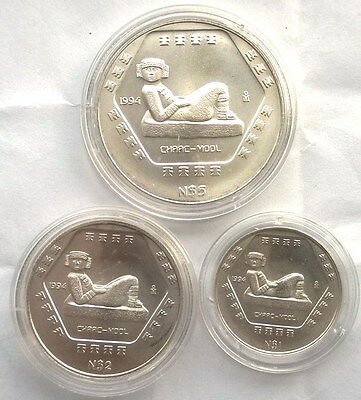 Mexico 1994 Chaac Mool Set of 3 Silver Coins,UNC
