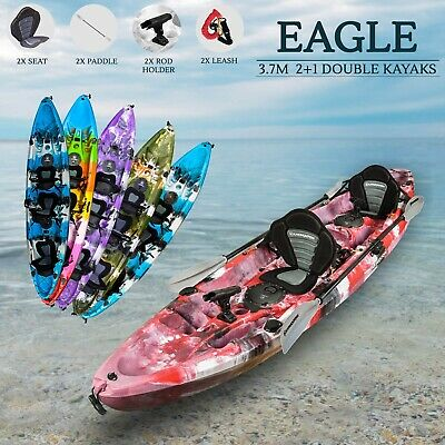 Double Fishing Kayak Tandem 2.5 Sit on Top Seats Paddles Family Newcastle Red