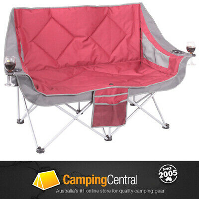 Oztrail Galaxy Sofa (Red) Moon Chair  Arms Picnic Camp Outdoor Seat Portable