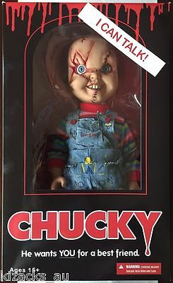 """Talking Chucky Doll Figure Scarred New! Mega Scale 15"""" Tall Childs Play"""