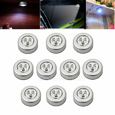 10 x 3 LED Touch Night Light Push ON/OFF Self-Stick On Battery Operated Lamp UK