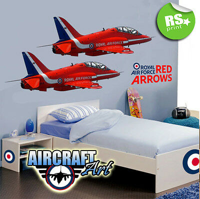KIDS BEDROOM STICKER  DECAL 2 x RED ARROWS AEROPLANES  -V.LRG.
