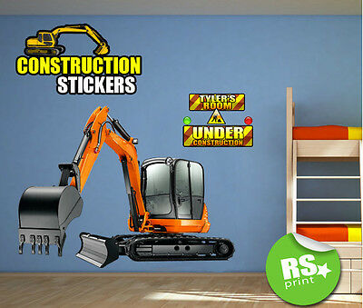 Kids Bedroom Wall Art - Wall Sticker  Decal Kids Construction Digger -V.large.