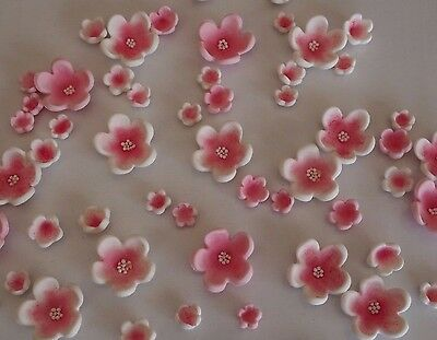50 x Edible Cherry Blossom Flowers CUPCAKE TOPPERS Sugar Cake WEDDING Decoration