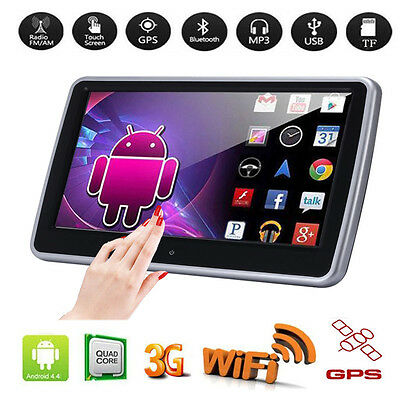 "10.1"" HD Wifi Touch Android 4.4 Quad-Core Car Headrest Monitor MP5 TV Player GPS"