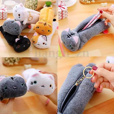 Trousse Chat Peluche Scolaire Stylo Maquillage Sac Crayon Pinceaux Rangement