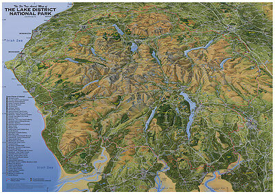 Map Of The Lake District National Park.  Lake District Map/poster - Flat Map