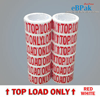 6 / 12 / 36 / 72 Rolls TOP LOAD ONLY - Red/White Warning Packing Packaging Tape