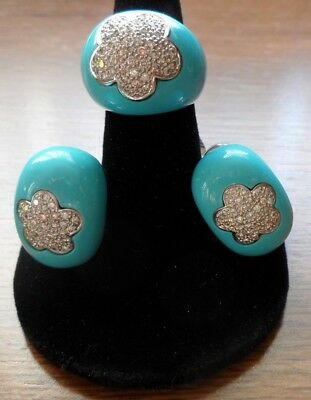 18k. WHITE GOLD EARRING AND RING SET, TURQUOISE ENAMEL,2.5 CARATS OF DIAMONDS