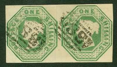 SG 55 1/- green pair. Very fine used with lightly placed numerals. Full...