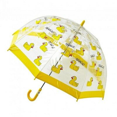 Bugzz Kids Duck Design Dome Brolly Childrens / Childs Clear PVC Fun Umbrella