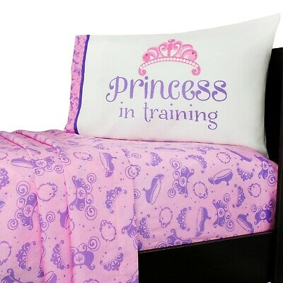 3pc Sofia First Twin Bed Sheet Set Pink Disney Princess Scrolls Tiara Bedding