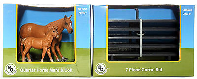 Big Country Toys Farm Animals Figures Quarter Horse Mare & Colt +7 Pc Corral Set