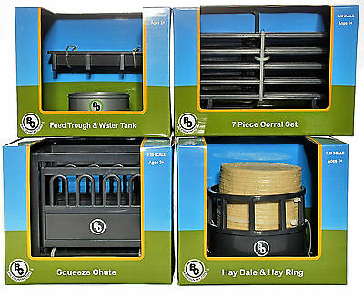 4 Big Country Toys Accessory Sets Feed Trough/Corral/Squeeze Chute/Hay Bale&Ring