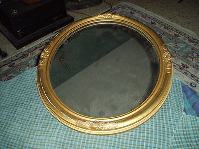 Vintage WOOD CHALK ORNATE OVAL WALL MIRROR Wall Hanging VG !